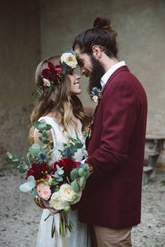 red wedding ideas red groom's jacket and bride