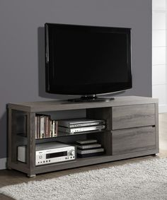 Another great find on #zulily! Monarch Specialties Dark Taupe Tempered Glass Media Console by Monarch Specialties #zulilyfinds
