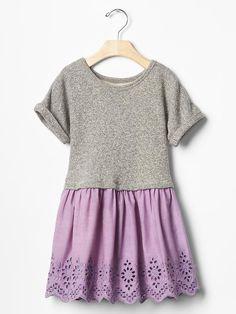 Eyelet mix-fabric sweatshirt dress