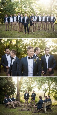 Groomsmen wearing navy jacket, black bow tie and brown chinos   Muse Photography