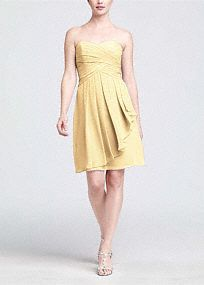 On trend and ultra feminine, this strapless style is great for a bridesmaid and offers plenty of wear-again potential!  Ruching detail shapes a stunning sweetheart neckline that flatters any body type.  Crinkle chiffon flows to create a front cascade that adds dimension and romance.  Short silhouette is versatile and chic making this style a closet staple.  Fully lined. Back zip. Imported polyester. Dry clean only.  Available in our exclusive 44 color palette.  Get inspired by our colors..