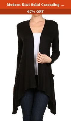 a62755fb570 Modern Kiwi Solid Cascading Knit Pocket Cardigan Black XXL. A beautiful  asymmetric drape