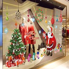 Oderin Art Big Decal Merry Christmas Tree Santa Claus Decoration Removable Mural Wall Stickers Cupboard for Christmas Shop Room Decor