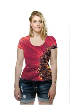 Red Sunflower By Christina Shaskus, . All Over Printed Art Fashion T-Shirt by OArtTee