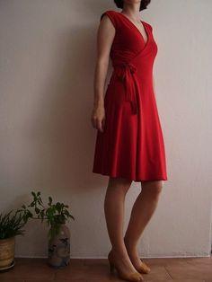 DIY Womens Clothing : Wrap Dress Pattern Free   little red wrap dress free burda pattern   Sewing Proj