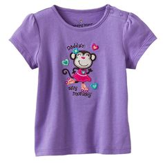 Jumping beans cotton kids baby infants girl short sleeve t-shirt purple monkey tee