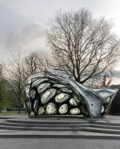University of Stuttgart unveils carbon-fibre pavilion based on beetle shells.