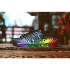 Adidas Originals LGBT Superstar Unisex Scarpe - Nero/Arcobaleno