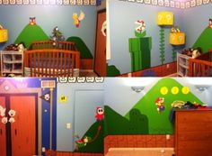 Super Mario Bros Wall Decal Decor Peel&stick Nursery playroom wall painting for Boys Kids Baby Bedroom. Super Mario Nursery, Super Mario Room, Room Themes, Nursery Themes, Nursery Ideas, Themed Nursery, Geek Nursery, Themed Rooms, Nursery Room