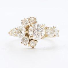 Diamond stone crescent engagement ring | Mociun Custom