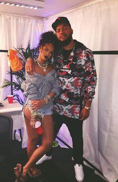 Rihanna Balenciaga striped shirt, Levi's grommet cut off shorts, Gucci fur-trim…
