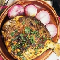 Machchli Masala Recipe - Fish fried whole with a combination of spices. The skin is good when it becomes crisp on frying. A high protein meal. Goan Recipes, Fried Fish Recipes, Paneer Recipes, Veg Recipes, Spicy Recipes, Seafood Recipes, Indian Food Recipes, Chicken Recipes, Cooking Recipes