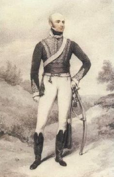 Portrait of an officer of the 19th Light Dragoons standing in a landscape by HENRY EDRIDGE (BRITISH, 1769 - 1821).