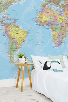 Political world map wallpaper wall mural muralswallpaper close your eyes and point to your next travel destination this wonderfully colourful world map gumiabroncs Image collections