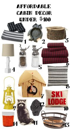 Affordable Cabin Decor Under 100. Must have the raccoon throw pillow!!