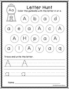 Printables Letter Identification Worksheets 1000 images about kindergarten activities on pinterest alphabet 26 printable worksheets for letter identification and formation practice students can color each gumball that contains th