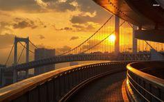 Tokyo, Japan WAllpaper => Highway, Sunset, Bridge Twitter Header Photos, Twitter Backgrounds, Twitter Cover, Take A Breath, Golden Gate Bridge, Cheap Flights, Clouds, Sunset, World