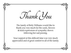 Sympathy Thank You Notes Funeral Cards