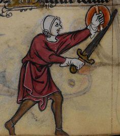 Mann mit Buckler, BL Stowe 17 The Maastricht Hours, fol. 124v, 1300-1325, Niederlande.