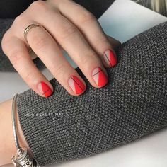 Looking for some elegant negative space nail art designs and ideas? If you want to find a new look in this season, then try some negative space nails. Negative space refers to the area around the object, which is the focus of a particular image. Funky Nails, Red Nails, Cute Nails, Pretty Nails, Hair And Nails, Red Nail Art, Red Manicure, Pastel Nails, Bling Nails