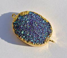24K Gold Electroplated Edge Blue Titanium by RareGemsNJewels