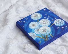 Dandelions at Twilight tiny acrylic painting by TheWhimsicalFrog