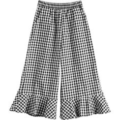 Ruffles Checked Wide Leg Pants (285 ARS) ❤ liked on Polyvore featuring pants, wide leg trousers, frilly pants, checkerboard pants, checkered pants and checked trousers