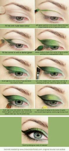 Awesome tutorial on how to do any color cat eyes...courtesy www.thewonderlandforest.com <3