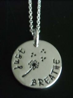 """New ~ Silver  """"Just Breathe""""  Necklace with Dandelion Wishes ~ BRACELET & NECKLACE ~ SET ~ New by GlamRusJewels on Etsy"""
