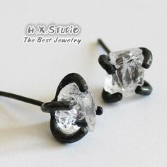 Handmade White Crystal Earring, 925 Silver Crystal Rock Ear Studs, Unique Gift, Wholesale Available