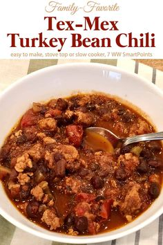 This tasty Tex-Mex Turkey and Pinto Bean Chili includes two ingredients I've never put in chili, cocoa powder and molasses. I was intrigued and couldn't wait to give it a try. Turns out these provided a depth of flavor that can't be beat! Ww Recipes, Chili Recipes, Bean Recipes, Turkey Recipes, Best Slow Cooker, Slow Cooker Recipes, Cabbage Soup Recipes, No Bean Chili, Pinto Beans