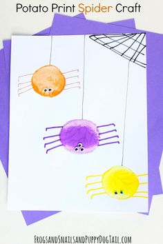 Potato Print Spider Craft.  Halloween crafts for kids.  - FSPDT