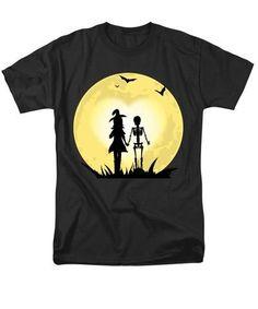 Romantic Halloween Witch And Skeleton T-shirt - Men's T-Shirt  (Regular Fit)! greatgirlsgifts.com