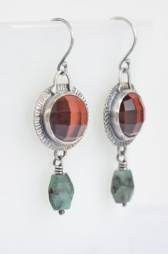 red tigereye and emerald sterling silver earrings by laurenmeredith