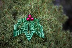 Sparkling Holly French Beaded Christmas Ornament by BeadsByAllgood, $14.00
