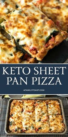 This Keto Sheet Pan pizza has a low-carb crust and lots of delicious toppings. Keto Sheet Pan Pizza - Craving pizza but eating keto? This Keto Sheet Pan pizza has a low-carb crust and lots of delicious toppings. Ketogenic Recipes, Diet Recipes, Healthy Recipes, Pizza Recipes, Vegetarian Recipes, Smoothie Recipes, Best Low Carb Recipes, Healthy Meals, Paleo Meals