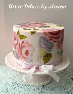 Roses and Lilacs, painted cakes Fondant Cakes, Cupcake Cakes, Cupcakes, Cupcake Ideas, Mini Cakes, Beautiful Cakes, Amazing Cakes, Gorgeous Gorgeous, Cold Cake