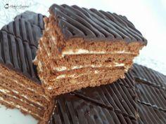 Azi va aduc o reteta noua de prajitura delicioasa: foi cu nuca, miere si cacao si o crema de lamaie! Romanian Desserts, Food Cakes, Nutella, Tiramisu, Cake Recipes, Bacon, Sweet Treats, Caramel, Pie