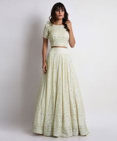 Light green Chikankari lehenga with crop top. Click on image for price. #Frugal2Fab