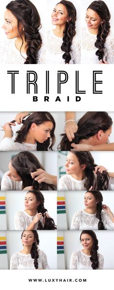 We are absolutely loving the Triple Braid: It's a fun mix of three braids: french braid, fishtail braid, and the regular three strand braid. Liliya from the Luxy Hair team shows you how to create this easy look using her 220g Dark Brown #LuxyHairExtensions. Click to find out how to recreate this look! <3