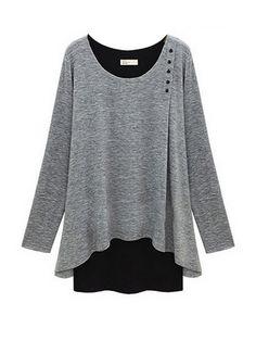Loose Patch Design O-Neck Long Sleeve Cotton T-Shirt Jumper 842d0c7d5