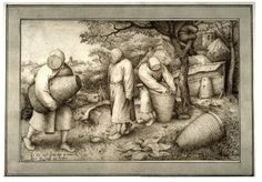 The Beekeepers by Pieter Bruegel the Elder A work from the collections of the de Young and Legion of Honor museums of San Francisco, CA. Bee Drawing, Pieter Bruegel The Elder, Printable Animals, Let Them Talk, Bee Keeping, Vintage Style Outfits, French Antiques, Medieval, Insects
