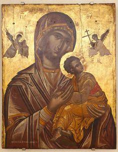 Virgin Mary of the Passion late century, Emmanuel Tzanfournaris Byzantine Icons, Byzantine Art, Archangel Gabriel, Archangel Michael, Religious Icons, Religious Art, Art Roman, Russian Icons, Statues