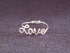 Love Ring, Sterling Silver Love Ring, Wire Love Ring, Wire Name Style Ring, Any Style Cursive Jewelry Box, Jewelery, Jewelry Accessories, Jewelry Making, Unique Jewelry, Handmade Accessories, Wire Jewelry, Wedding Jewelry, Handmade Jewelry