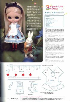 Blythe doll Alice in Wonderland dress. Adjust for Lottie Doll Sewing Patterns, Doll Dress Patterns, Sewing Dolls, Alice In Wonderland Dress, Doll Tutorial, Doll Costume, Sewing Accessories, Felt Dolls, Custom Dolls