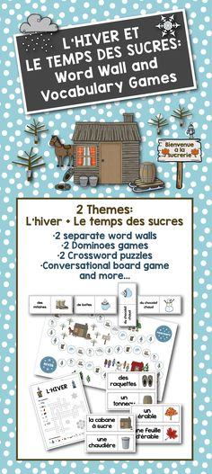 L'hiver + Le temps des sucres: Go from winter to spring with these two separate but complementary themes. Vocabulary Games, Vocabulary Words, Teaching French Immersion, French Teaching Resources, Classroom Resources, Teaching Ideas, High School French, French Verbs, French Education