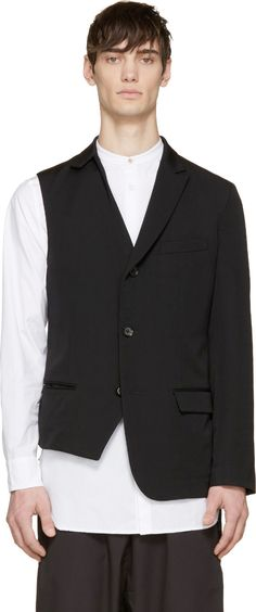 Yohji Yamamoto Black Single Sleeve Blazer