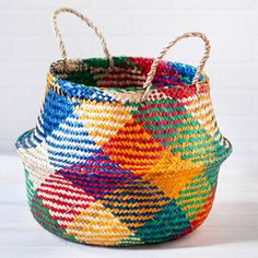 Carnival Rice Woven Storage Basket - Natural Collection Select