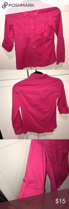 Hot pink snap on long sleeve shirt Long sleeve snap on shirt with ruffled front Guess Shirts & Tops Button Down Shirts