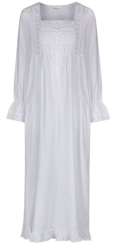 c12ce1da36 100% Cotton Nightgown - Gown With Pockets - 7 Sizes - Isabella - White -  CO11A1D6KGZ
